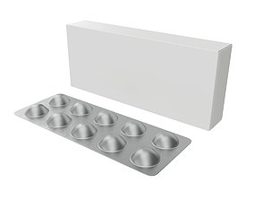 Pills with paper box package 01 3D model