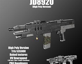 3D asset High poly and low poly gun-JD8920