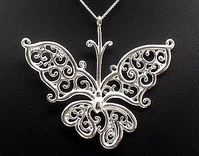 Silver Filigree Butterfly Pendant 3D printable model