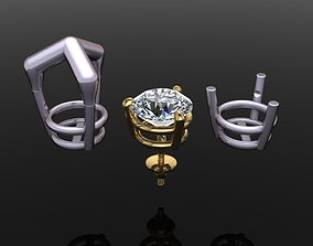 3 Prong Solitaire Earring Stud Basket 8mm 3D print model