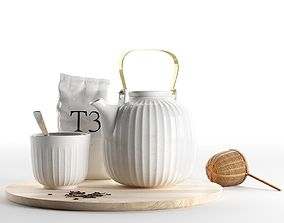 Hammershoi Tea Set with Bamboo Strainer 3D