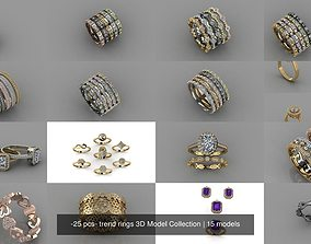 -25 pcs- trend rings 3D Model Collection
