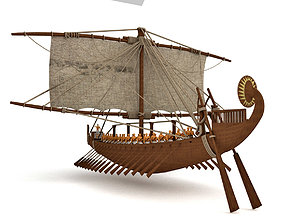 3D river ancient Egyptian ship
