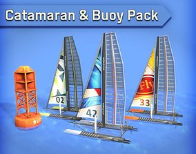 3D model Catamaran and Buoy Pack