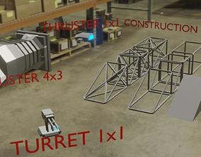 3D model realtime Sci Fi Ship Modular Parts
