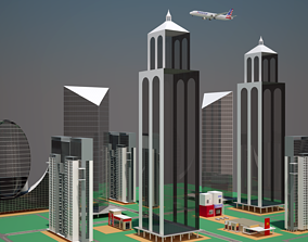 Part of a City with Animated Aircraft 3D