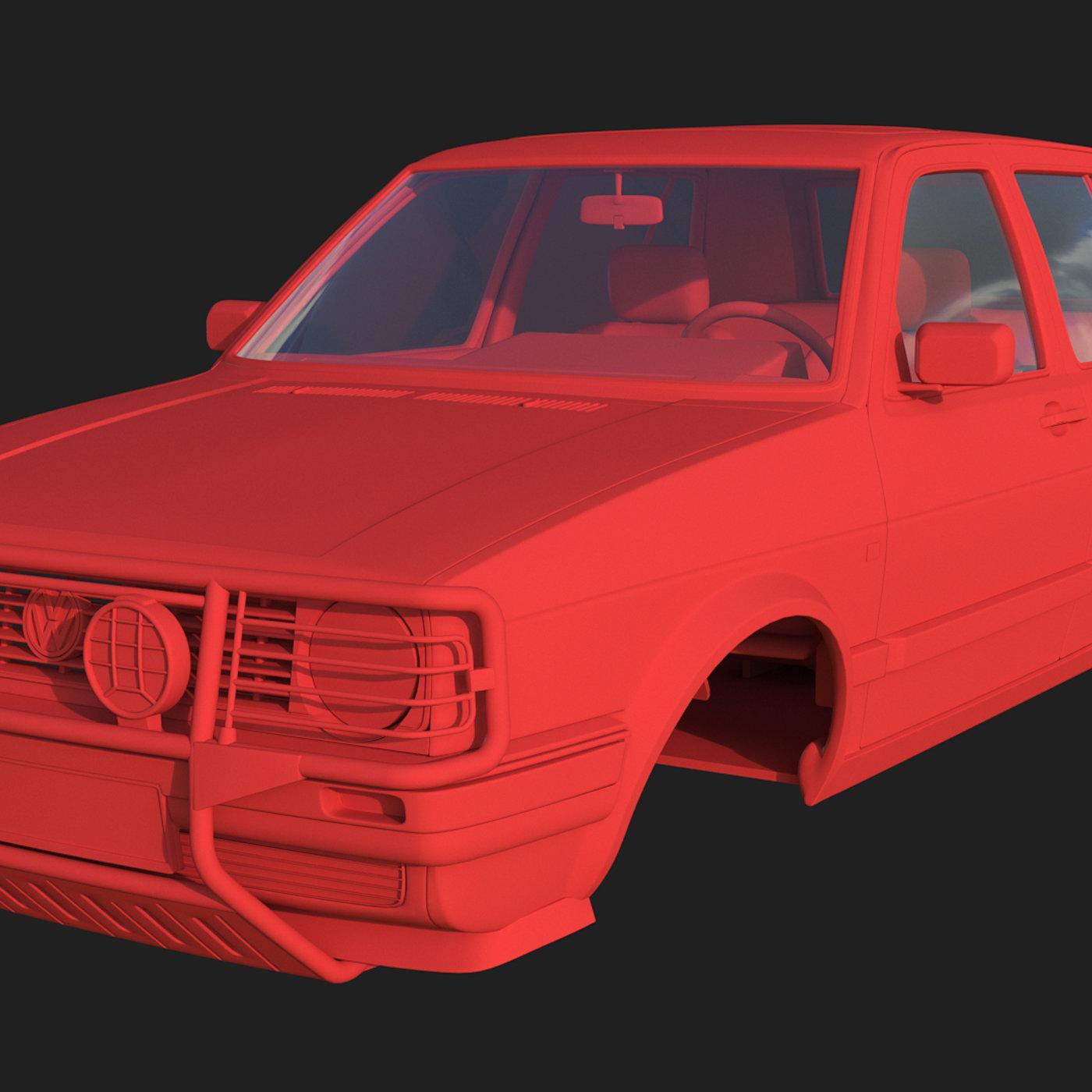 Volkswagen Golf II Country - Body and Interior 3D print model