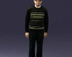 An elderly man in socks and glasses 0102 3D Print Ready