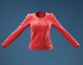 Black Padded Leather Jacket Closed 3D model