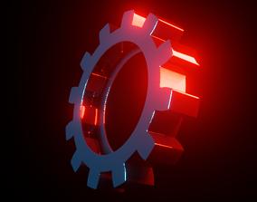 3D asset low-poly Gear Cog