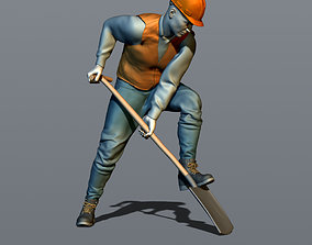 3D print model Worker with a shovel