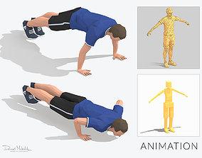 Pushups Exercise Man Animation 3D asset