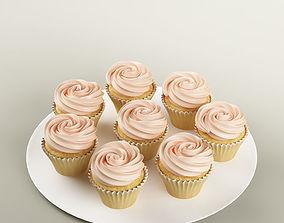 3D model Cake 21 muffins with cream rosette