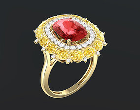 3D printable model Red Sapphire Cushion Ring 0014