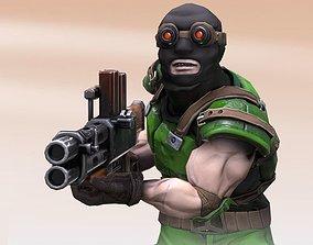 3D model Human Terrorist soldier with machine