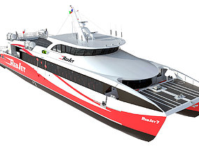 Detailed Red Jet 7 Passenger ferry hquality 3D model