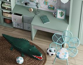 Realistic Study Desk Furniture for kid- 3D model 2