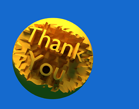 Carved Thank You Text 3D model