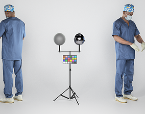 3D asset African male doctor in mask and sterile gloves 1