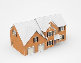 Big Two-storey House With Two Garages 3D