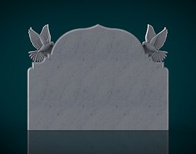 memorial tombstone with pigeon figure 3D print model