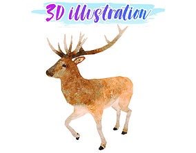 3D model Low Poly Stag Illustation Animated - Game Ready