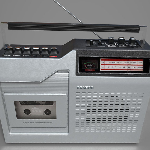 Radio cassette recorder - PBR game ready model