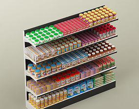 3D interior Storage shelving rack with food 02