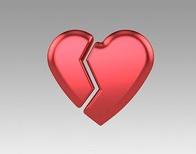 3D model Heart love broken