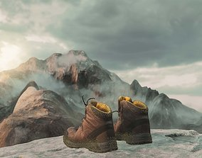 Hiking Boots - Lowpoly Game Asset game-ready PBR