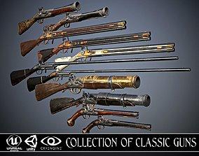 3D asset Collection of classic guns 3