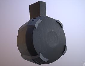 Round Drum Magazine - Weapon Attachment - PBR - 3D model 1