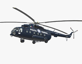 Mi-17 Mexican Police 3D model low-poly