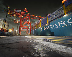 3D asset game-ready Container Yard Environment Set