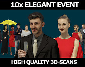 3D model 10x Scanned Gobotree Elegant Foreground People 1