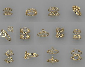 21 pieces new gold rings 3D printable model