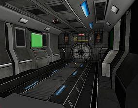 3D model Sci-fi Corridor with Door and floor and Diagonal
