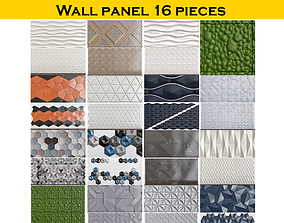 Collection of Wall panel 16 pieces illustration 3D