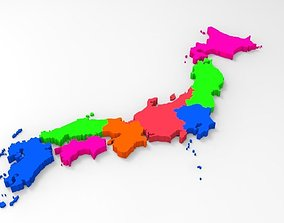 Japan Map With Its All Regions 3D model