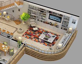 Furnished floor plan 3D model
