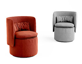 Group cocktail chair with swivel base 3D