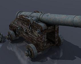 sailingship XVIII Century naval cannon 3D