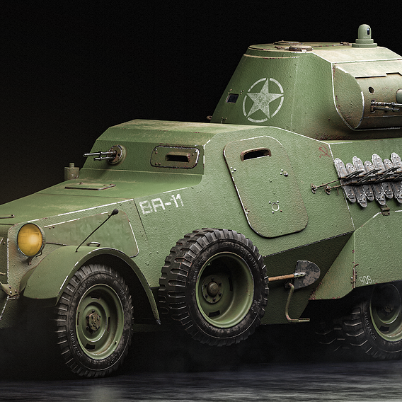 Rigged High Poly Ba-11 soviet armored car