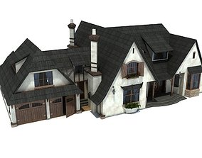 architectural English Style Family House 3d Model