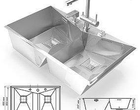 Kitchen Sink Omoikiri IZUMI 86-2 and faucet 3D asset 1