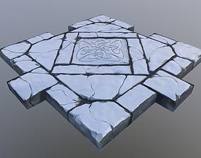 Tileable Damaged Stone Road 3D model