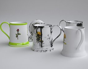 3D model Cup with clean and dirty textures