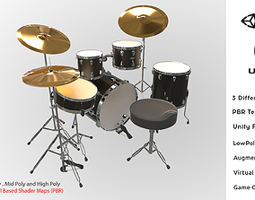 Photorealistic High Quality Drum Set Low-poly 3D asset 3