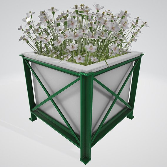 Flower Pot White Flowers Version 2