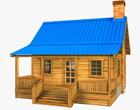Wooden house V01 3D asset low-poly